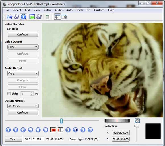 Avidemux видеоредактор русская версия